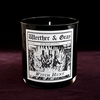 WITCH HUNT Candle, 9oz Black Tumbler, Dark Series, Werther + Gray, Salem, Gothic Vintage Victorian Style, Soy Blend, Scented Candle