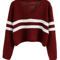 PrettyGuide Women Eyelet Cable Knit Lace Up Crop Long Sleeve Sweater Crop Tops (Striped Burgundy)