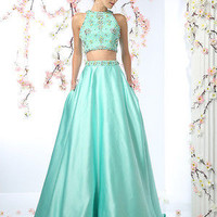 2016 Spring Designer Sage 2 Piece Crop Top Skirt Set Prom Dress Ball Gown