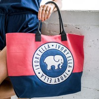 Red & Navy Beach Tote