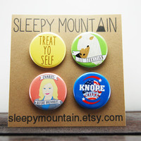 Parks and Rec Badges - Parks and Recreation Pinback Buttons or Magnets