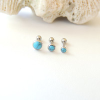 Turquoise Cartilage Earring You Choose Size, Triple Helix Conch Cartilage Piercing Stud, 18g Cartilage Barbell, Internally Threaded. 1056
