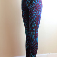 Psychedelic tie-dyed footless leggings/ tights in viscose/ spandex blend/ blue & purple / FREE shipping within Australia