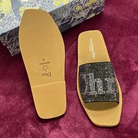 Dior printed letters full rhinestone slippers ladies sandals Shoes #2