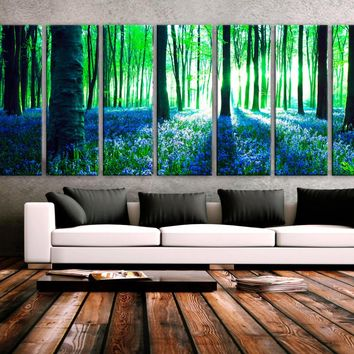 """XXLARGE 30""""x 96"""" 8 Panels Art Canvas Print beautiful Nature Sunset Forest Trees flowers Wall Home Decor interior (Included framed 1.5""""depth)"""