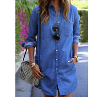 Casual Doll Collar Long Sleeve Button Down Denim Jacket