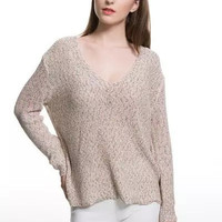 Solid V-Neck Knitted Long Sleeve Loose Top