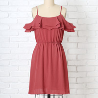 Dusty Rose Cold-Shoulder Ruffle Dress