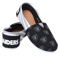 Oakland Raiders Official NFL Womens Stripe Canvas Slip-on Shoes