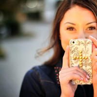 Damask studded cross case for iPhone 4/4s and 5