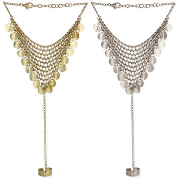 Mesh and Coin Dangle Hand Chain