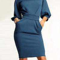 Light Blue Half Sleeve Bodycon Midi Dress