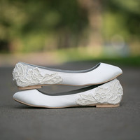 Wedding Flats - Ivory Wedding Flats/Wedding Shoes with Ivory Lace. US Size 10