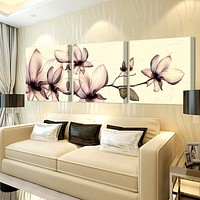 3ps(no frame)Yellow orchid pictures painting canvas on the wall of the living room wall module painting mural art cuadros poster