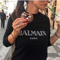 """""""Balmain"""" Unisex Simple Casual  Bronzing Letter Print Thickened Long Sleeve Sweater Couple Loose Pullover Tops"""