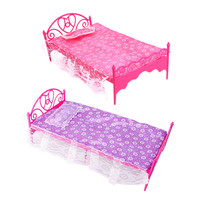 Doll Bed Girls Beautiful Pink Plastic Bed Bedroom Furniture For Dolls Dollhouse (Pink Purple -color Send by random)