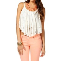 White Floral Shirt Tail Top