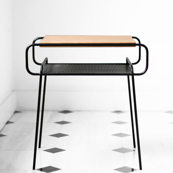 Nightstand / Bedside table, black lacquered iron and oak, mid-century, modern, retro