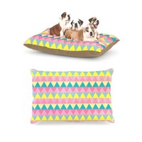 "Kess InHouse Louise Machado ""Triangles"" Yellow Pink Dog Bed"