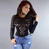 Women Jumpsuits Rompers Sexy Bodysuit Long Sleeve Bodycon Romper Hollow Out Sexy Stretch Jumpsuits Women Clothing  LJ7150E