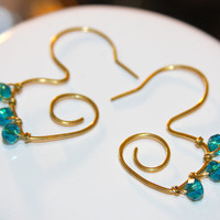 Aqua Earrings, Gold Brass and Green Teal Earrings, Everyday Earrings, Art Deco Earrings, Crystal Teal Earrings