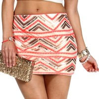 Ivory/Pink/Gold Sequin Chevron Mini Skirt