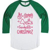 Christmas Equation-Unisex White/Evergreen T-Shirt