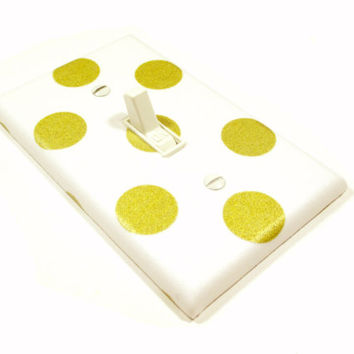 Gold Polka Dots Light Switch Cover White and Gold Nursery Decor Golden Nursery Decoration Switchplate Switch Plate 1689