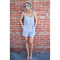 Jump With It Linen Romper - Navy