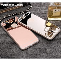 Luxury Mirror TPU Capa Soft Silicone Phone Cases For iPhone 5 5s SE 6 6s 7 8 Plus X Shell Cover For iPhone 7 Plus i7 i7P