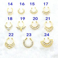 2016 new hot trend women men fashion Crystal gold color fake septum clicker nose round ring piercing septo body piercing jewelry