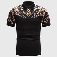 Fashion Casual Men Baroque Print Polo Shirt
