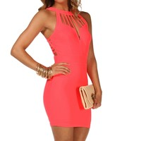 Sale-neon Pink Caged Bodycon Dress