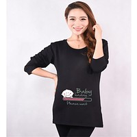 "New 2017 Fashion Funny Maternity Pregnancy T shirt ""baby loading please wait"" Long Sleeve Maternity Clothes for Pregnant Women"