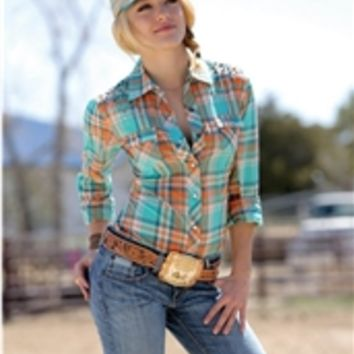 Cruel Girl Womens Orange and Turquoise Studded Plaid Shirt CTW9287001