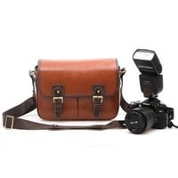 Zlyc Waterproof Vintage Faux Leather and Canvas Camera Bag Messenger Bag for DSLR Camera and Lens