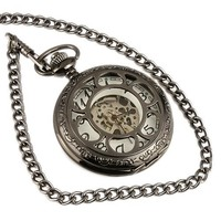 ESS Men's Black Stainless Steel White Dial Hand-Wing Up Mechanical Pocket Watch with Chain WP059