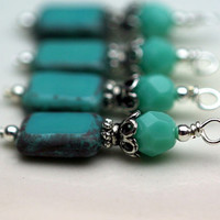 Turquoise Picasso Czech and Antiqued Silver Bead Dangle Charm Drop Set - 4 Piece Set