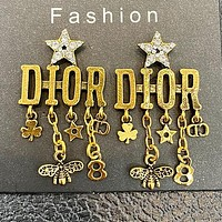 DIOR 925 Popular Women Personality Golden Letter Pendant Long Style Earrings Accessories #5