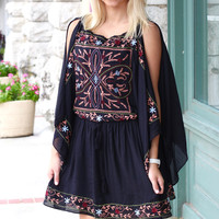 Embroidered Flutter Sleeve Dress {Black}