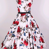 Retro Floral Print Flare Dress With Belt B008054