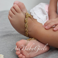 Celebrated Gold Baby Barefoot Sandals