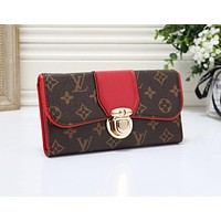 Louis Vuitton LV Newest Popular Women Leather Print Wallet Purse Red
