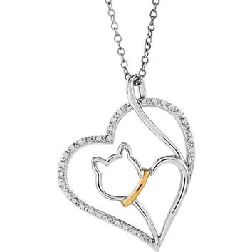 """Sterling Silver & 10kt Yellow 1/10 CTW Diamond Cat Heart 18"""" Necklace"""