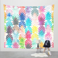 Hawaiian Pineapple Pattern Tropical Watercolor Wall Tapestry by Girly Trend