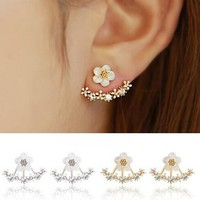 Crystal Stud Earrings Boucle d'oreille Femme Flower Earrings for Women Gold Bijoux Jewelry