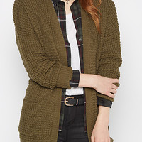 Olive Chunky Knit Slouchy Cardigan