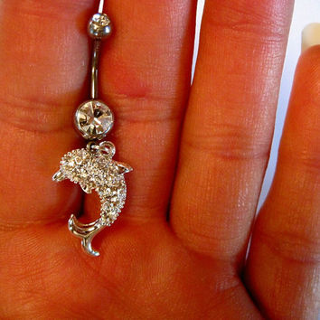 Belly Button Ring Barbell Clear Crystal Silver Tone Dolphin