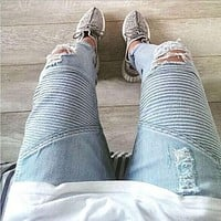 mens Strech ripped biker jeans skinny light blue Distressed kanye west designer distrressed brand hip hop streetwear swag pants