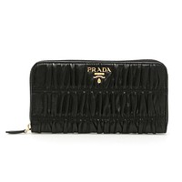 Prada Nappa Gaufre Black Quilted Continental Wallet Leather Gold Hardware 1ML506